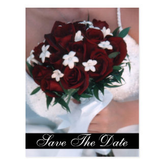 Monogram Red Rose Bouquet Save The Date Postcard
