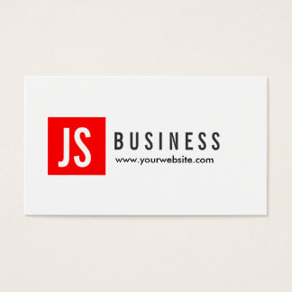Monogram Red Square Producer Business Card