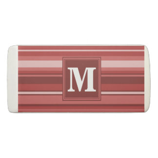Monogram red stripes eraser