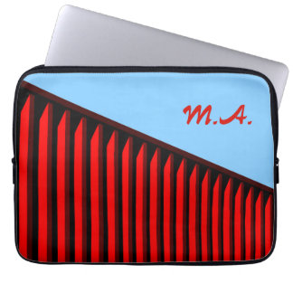 Monogram Red Stripes Laptop Computer Sleeves
