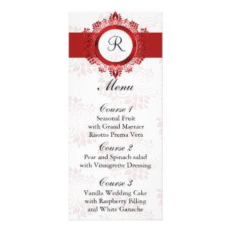 monogram red wedding menu personalized rack card