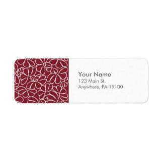 Monogram Red Whimsical Ikat Floral Doodle Pattern Return Address Label