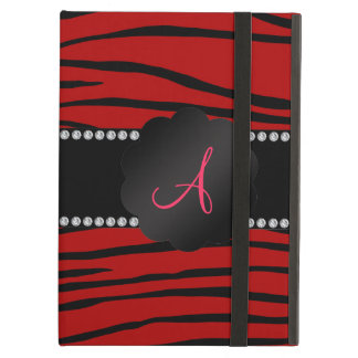 Monogram red zebra stripes iPad air cover