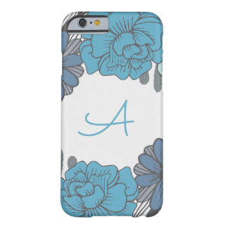 Monogram Retro, Blue Flowers Barely There iPhone 6 Case