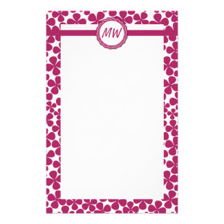 Monogram Retro Flower Pattern Acai Pink and White Stationery