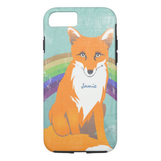 Monogram Retro Fox Art Aqua Orange Retro iphone 5 iPhone 8/7 Case