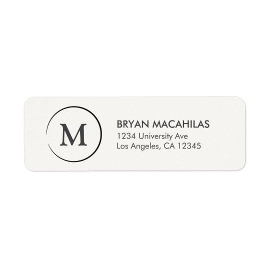 Monogram Return Address Label