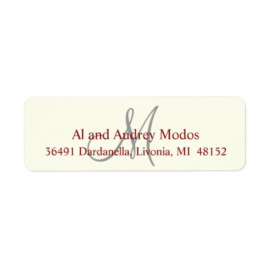 Monogram Return Address Label #FFFFF0