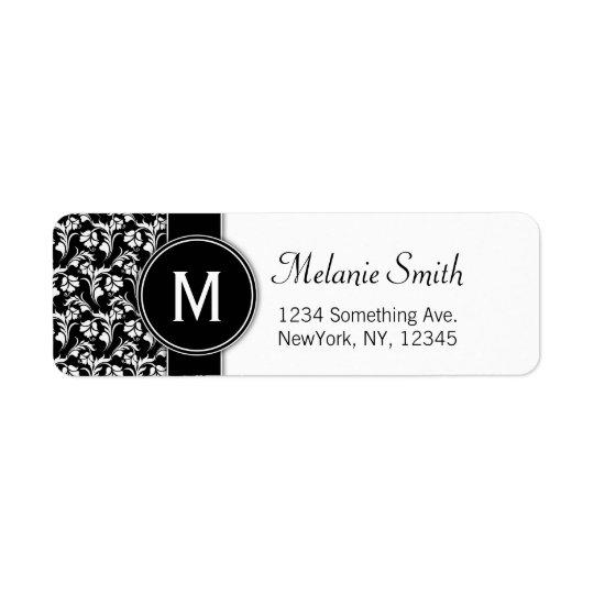 Monogram return address labels custom floral