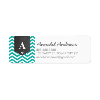 MONOGRAM RETURN ADDRESS modern chevron jade green Return Address Label