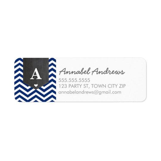 MONOGRAM RETURN ADDRESS modern chevron navy blue Return Address Label