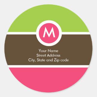 Monogram Return Address Sticker - Green/Pink/Brown