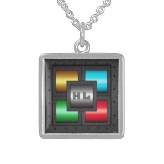 Monogram riveted steel colored panels, man cave sterling silver necklace