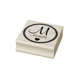 Monogram Rope Circle Rubber Stamp