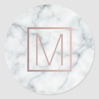 monogram rose gold and white marble classic round sticker