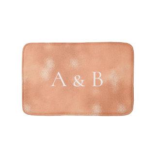 Monogram Rose Gold Coral Peach Copper Lux Glass Bath Mat