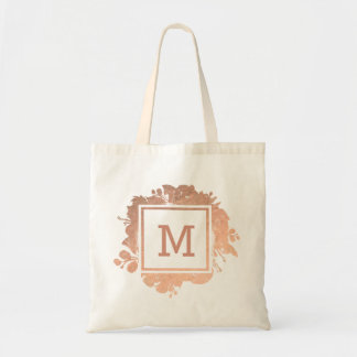 monogram rose gold floral wreath tote bag
