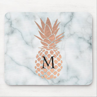 monogram rose gold pineapple on marble mouse pad