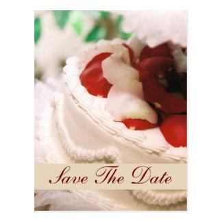 Monogram Rose Petal Cake Save The Date Postcard