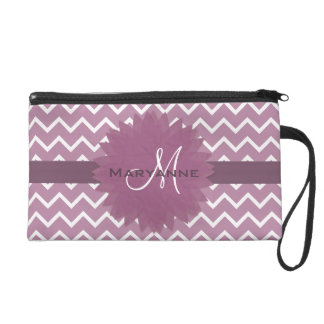 Monogram Rose Pink Chevron Pattern with Flower Wristlet Purse