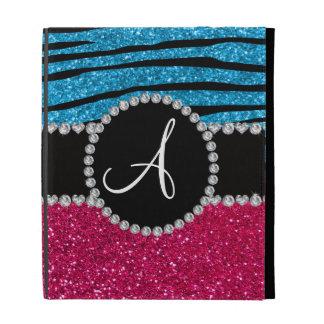 Monogram rose pink glitter sky blue zebra stripes iPad folio case