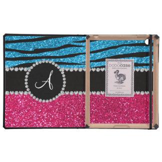 Monogram rose pink glitter sky blue zebra stripes case for iPad