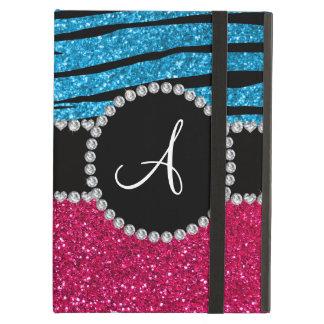 Monogram rose pink glitter sky blue zebra stripes iPad air covers