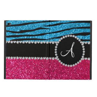 Monogram rose pink glitter sky blue zebra stripes powis iPad air 2 case