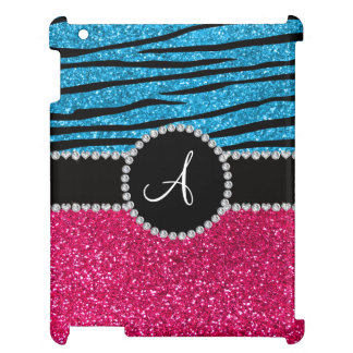 Monogram rose pink glitter sky blue zebra stripes iPad cases