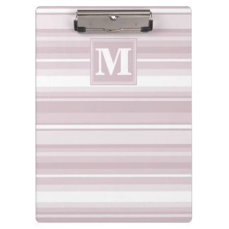 Monogram rose quartz stripes clipboards
