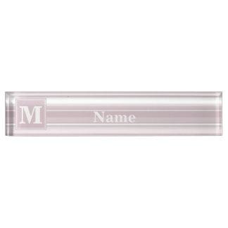 Monogram rose quartz stripes nameplate