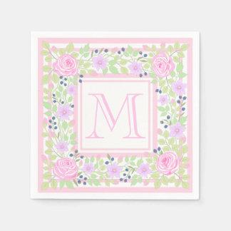Monogram Roses Clematis Blueberry Paper Napkins Disposable Napkin