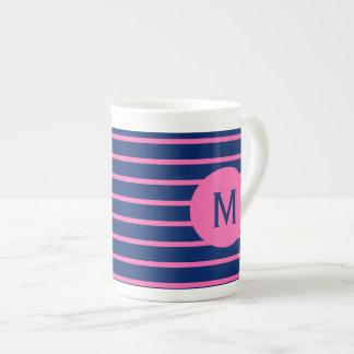Monogram Royal Blue and Hot Pink Stripes Bone China Mug