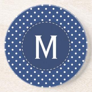Monogram Royal Blue and White Polka Dot Pattern Sandstone Coaster