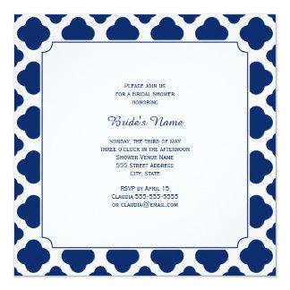 Monogram Royal Blue Quatrefoil Bridal Shower Card