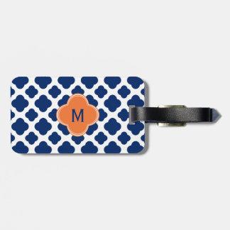 Monogram Royal Blue Quatrefoil Pattern with Orange Luggage Tag
