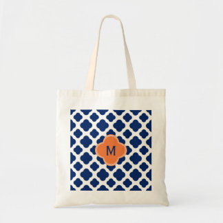 Monogram Royal Blue Quatrefoil Pattern with Orange Tote Bag