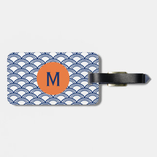 Monogram Royal Blue Seigaiha Pattern with Orange Luggage Tag