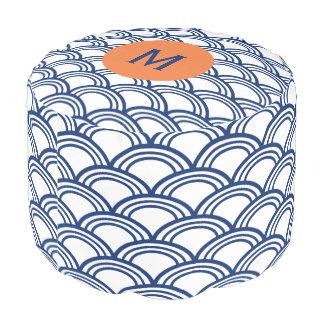 Monogram Royal Blue Seigaiha Pattern with Orange Pouf
