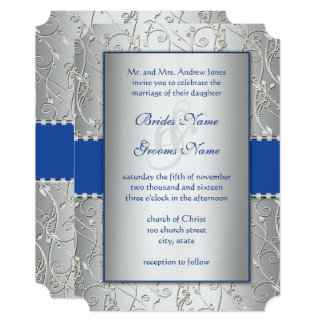 Monogram Royal Blue Silver Swirl Wedding 13 Cm X 18 Cm Invitation Card
