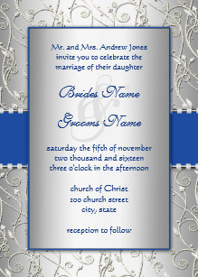 Blue And Silver Wedding Invitations Zazzlecomau