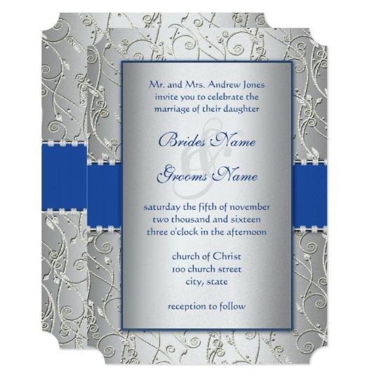 Monogram Royal Blue Silver Wedding Invitations | Zazzle.com.au