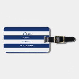 Monogram Royal Blue Striped Luggage Tag