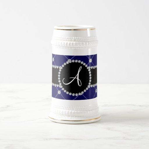 Monogram royal blue tuft diamonds coffee mugs