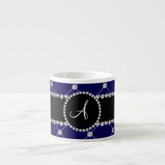 Monogram royal blue tuft diamonds 6 oz ceramic espresso cup