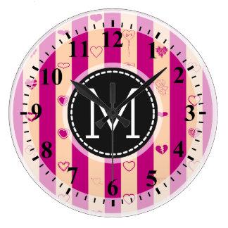 Monogram Royal Fuchsia Stripe Modern Heart Pattern Large Clock