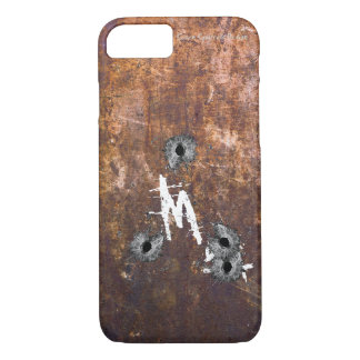 Monogram Rusted Metal Bullet Hole iPhone 7 Case
