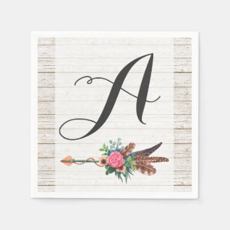 Monogram Rustic Bohemian Feathers Arrow Wedding Disposable Serviettes