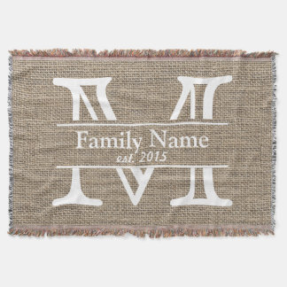 Monogram Rustic Burlap Family Name