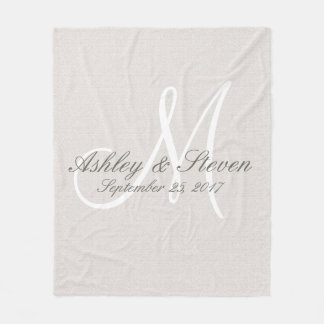 Monogram | Rustic Linen Fleece Blanket